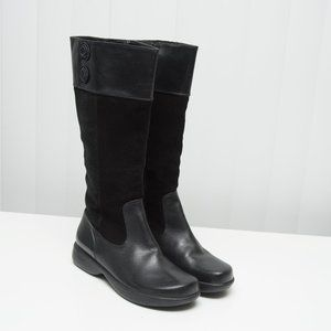 Dansko Leather & Suede Tall Boots Black